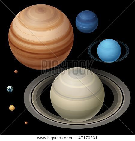 Isometric High quality isometric solar system planets. Colorful planets colorful vector set on dark background.