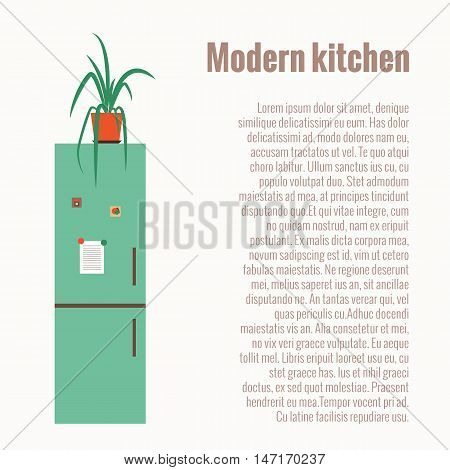 Kitchen refrigerator concept with kitchen interior elements. kitchen refrigerator isolated vector illustration. Colorful cartoon kitchen fridge concept. Kitchen background with refrigerator