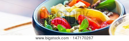 Healthy eating, dieting, vegetarian kitchen and cooking concept banner background, close up of vegetable salad bowl with tomatoes, green leafs, bell pepper