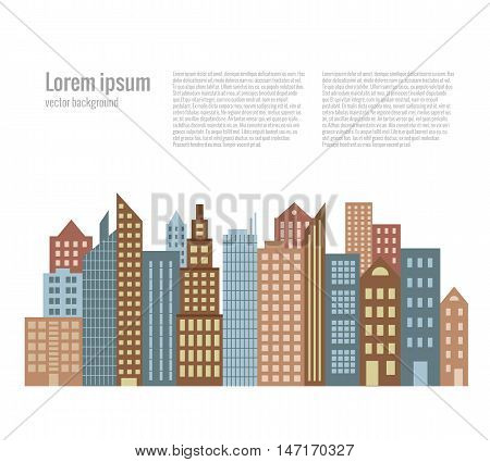 City landscape buildings flat background. Vector cityscape illustration. Concept of urban city street houses silhouette. Colorful cityscape for your design. Flat cartoon city landscape isolated.