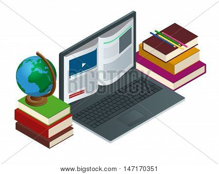 IT Communication or e-learning or internet network as knowledge base concept. Education technology flat illustration using laptop for distance elearning studying and education. Vector illustration