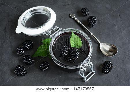 Blackberry Jam In A Glass Jar