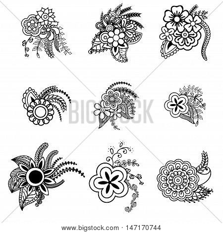 Vector set of doodle flowers isolated on white background