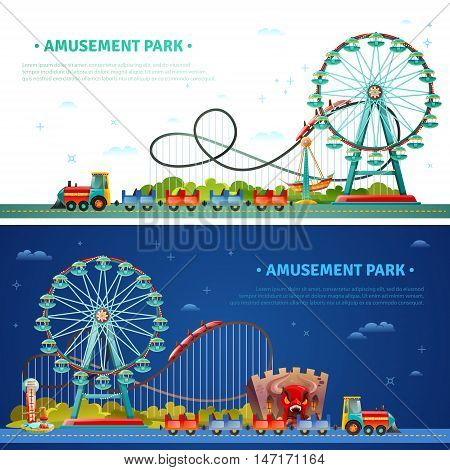 Amusement park horizontal flat banners with kids train ferris wheel roller coaster icons compositions vector illustration