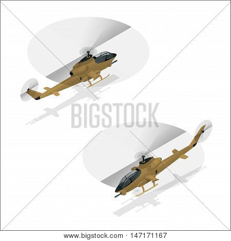 Isometric Military helicopter or army helicopter landing
