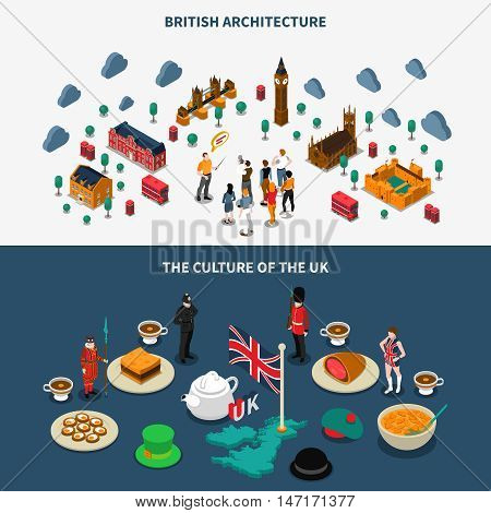 Touristic Great Britain isometric horizontal banners set with culture symbols isolated vector illustration