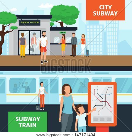 Subway horizontal banners with people near station entrance waiting for train and looking at map flat isolated vector illustration