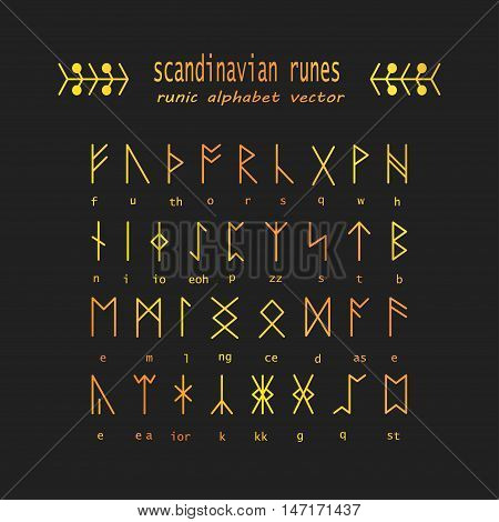 Set of Old Norse Scandinavian runes. Rune alphabet. Occult ancient symbols. Vector.