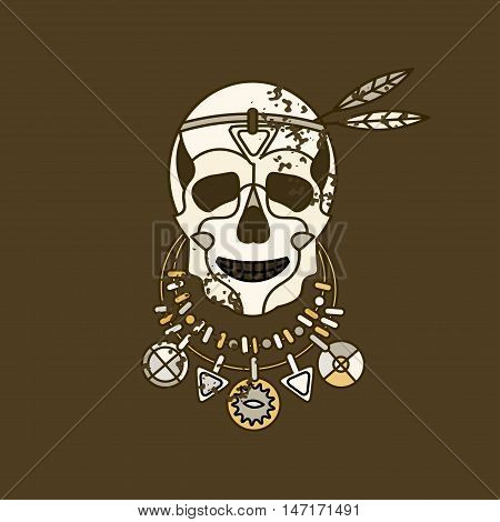 Vector skull logo with necklace and feathers for religious and tseremenony. Avrikansky souvenir and symbol of black magic.