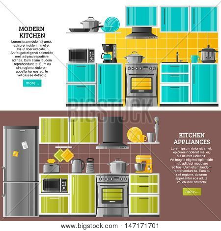 Kitchen interior horizontal banners in realistic style with modern equipment and appliances flat vector illustration