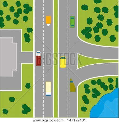 The Plan to terrain with car road and building.Vector illustration