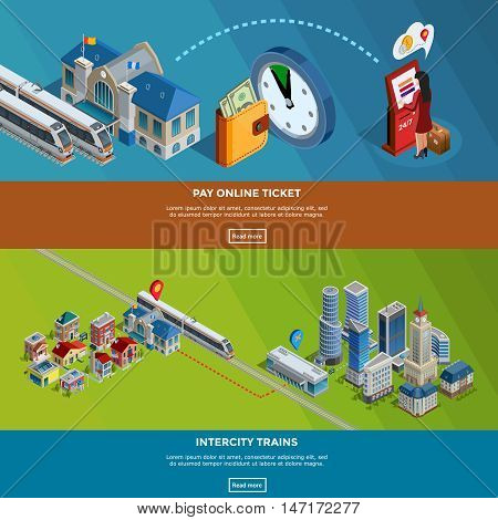 Railway internet page for online tickets purchase and intercity train journey planner 2 isometric banners design vector illustration