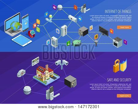 Internet of things home comfort and safety remote control 2 isometric banners webpage design isolated vector illustration