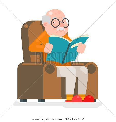 Old Man Characters Read Book Sit Chair Adult Icon Flat Vector Illustration