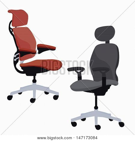 ergonomic chair office furniture adjustable armchair vector