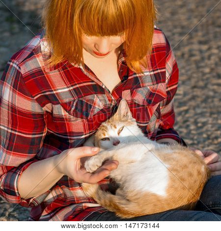 Redhead girl in a plaid shirt holding a cat in her arms a cat curled up and looking at the camera
