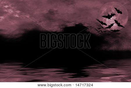 Bat flying over full moon halloween background