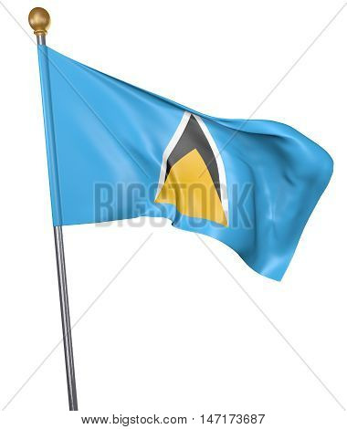 National flag for country of Saint Lucia isolated on white background, 3D rendering