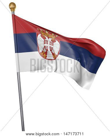 National flag for country of Serbia isolated on white background, 3D rendering
