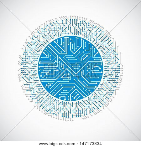 Futuristic Cybernetic Scheme, Vector Motherboard Blue Illustration. Circular Element With Circuit Bo