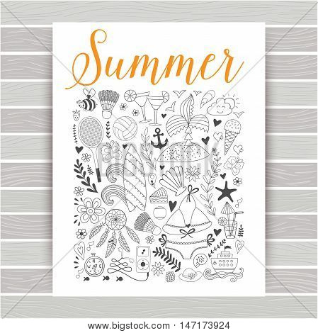 Summer icons, summer beach hand drawn vector symbols and objects, travel vacation doodle elements on wood texture