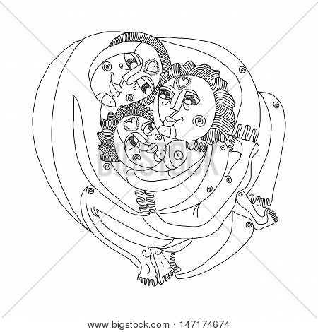 Family concept vector graphic artistic black and white illustration. Mother father and child happy together relationship and love theme.