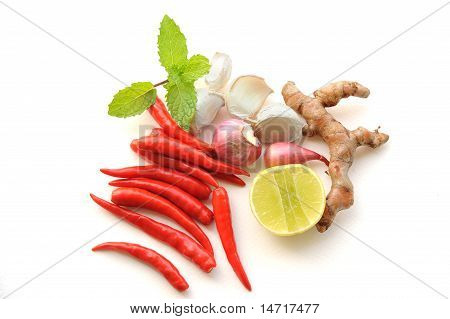 Red Thai Chili Pepper Hot And Spicy And Mint Galangal