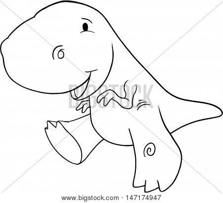 Cute Doodle Dinosaur Vector Illustration Art