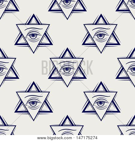 Double triangle and eye ball pen style freemasony seamless pattern. Vector illustration