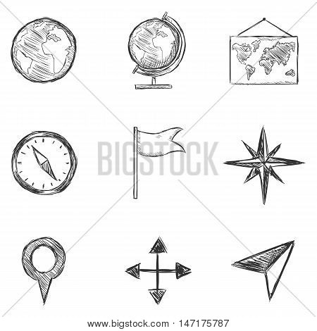 Vector Set Of  Sketch Geography And Navigation  Icons