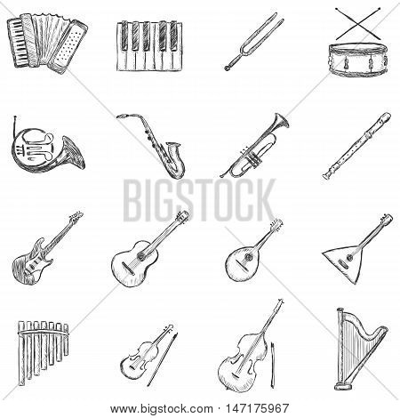 Vector Set of Isolated Sketch Musical Instruments Icons
