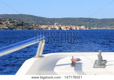 Distant View Of Saint Tropez On The Mediterranean Coast Of France Seen From An Approaching Ferry Boa