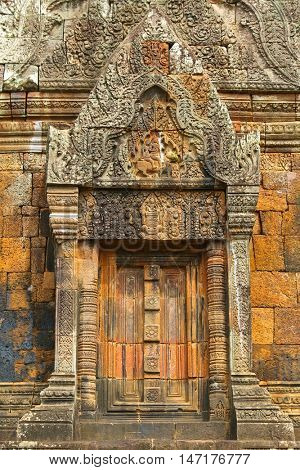 Part of rained Vat Phou, also written Wat Phu, Khmer Hindu temple complex and UNESCO World Heritage Site in Champasak Province, southern Laos