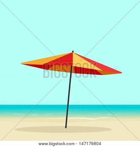 Beach umbrella on seaside vector illustration, flat cartoon sea coast with sun umbrella on sand beach, colorful orange parasol on seascape horizon