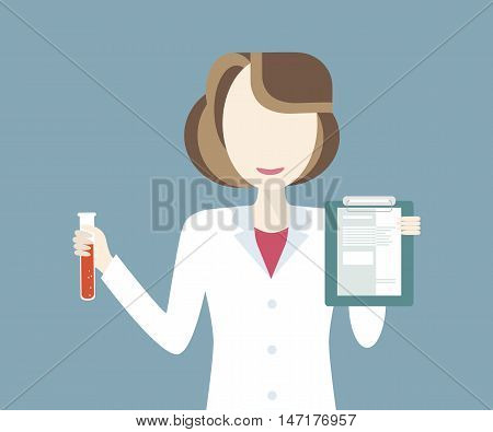 Scientist in science education research lab with flasks. Vector illustration flat style. Woman laboratory technician holding test tube and research results