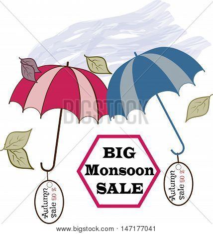 Sale umbrella sign. Symbol seasonal discount with quote Big Monsoon sale. Label decrease price. Design element. Vector illustration.