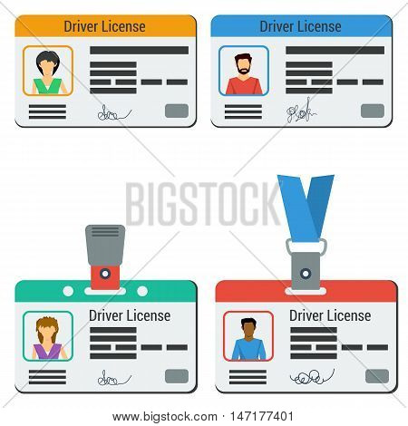 Four vector colored car driver license. Men and woman, plastic cards with photo id and in badges or lanyard in flat style isolated on white
