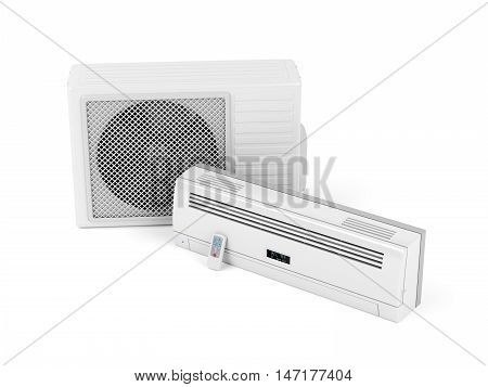 Split system air conditioner on white background, 3D illustration