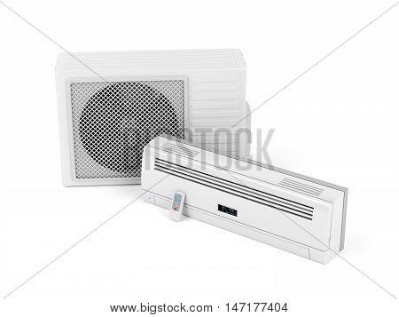 Split system air conditioner on white background, 3D illustration
