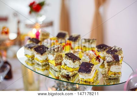 Delicious sweet buffet with cupcakes. Sweet holiday buffet with cupcakes and other desserts. Candy Bar.