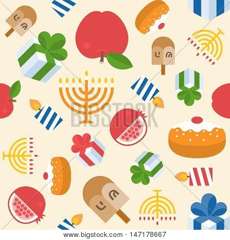 Hanukkah with menorah seamless pattern backgound vector, flat design, for print wrapping paper gift