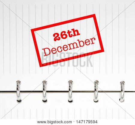 26th December written on an agenda