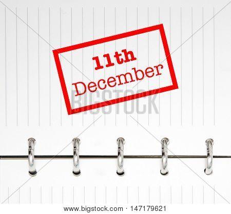 11th December written on an agenda