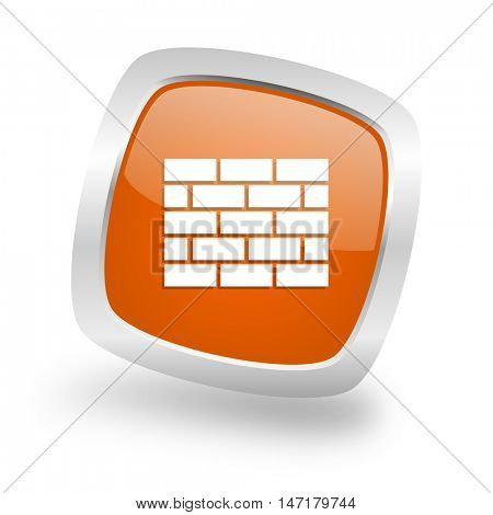 firewall square glossy orange chrome silver metallic web icon