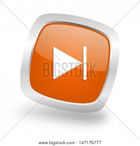 next square glossy orange chrome silver metallic web icon