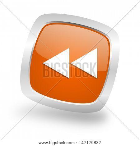 rewind square glossy orange chrome silver metallic web icon