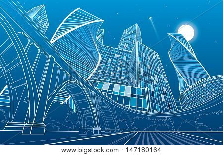 Big bridge, night city on background, industrial and infrastructure illustration, white lines landscape, urban scene, neon town, vector design art