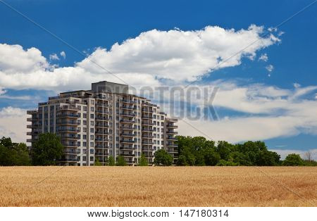 Modern residential high rise building in the middle of grain field landscape view