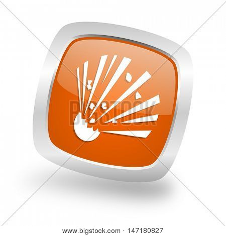 bomb square glossy orange chrome silver metallic web icon