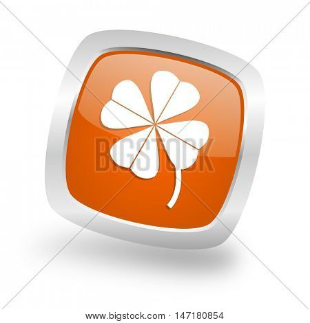four-leaf clover square glossy orange chrome silver metallic web icon